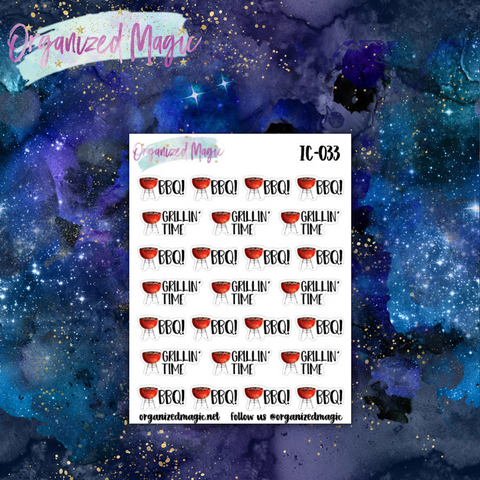 BBQ grilling time planner stickers