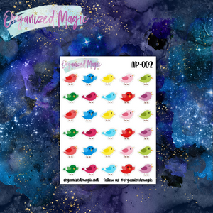 colorful cute bird planner stickers