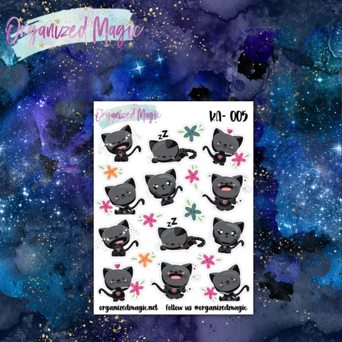 kawaii moody black cat planner stickers