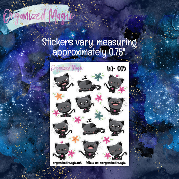 Moody Black Cat Planner Stickers