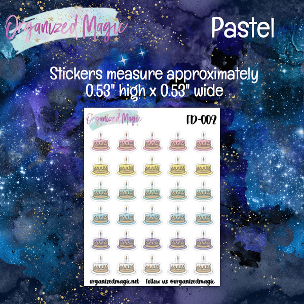 Birthday Cake Planner Stickers