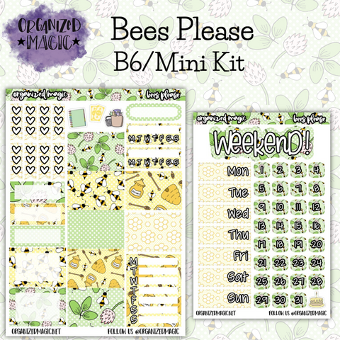 Bees Please B6 Mini planner sticker kit