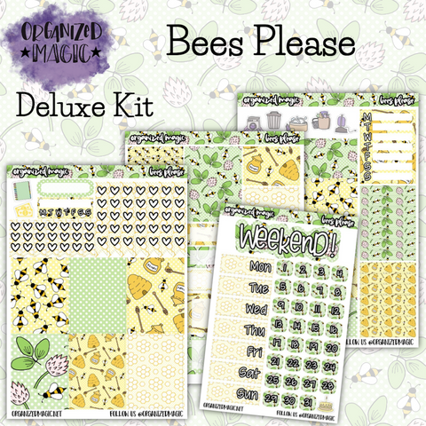 Bees Please Deluxe weekly planner sticker kit