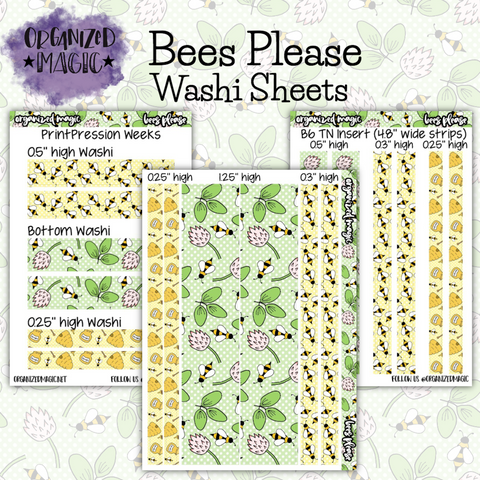 Bees Please washi strip sheet planner stickers