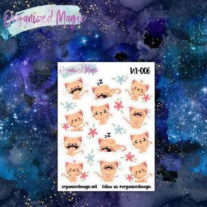 kawaii moody cat planner stickers