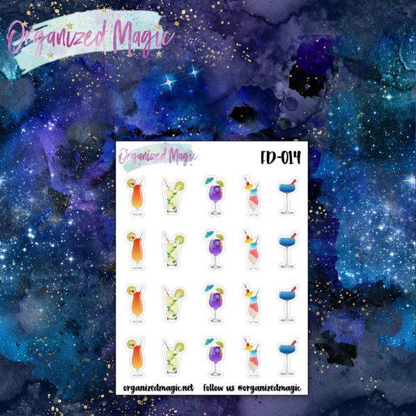 cocktail planner stickers