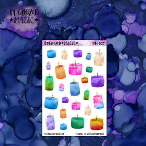 Watercolor Candle planner stickers