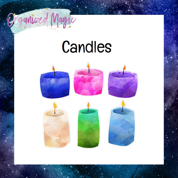 watercolor candle die cut stickers