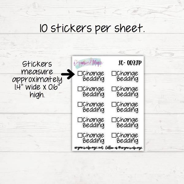 Change Bedding Planner Stickers