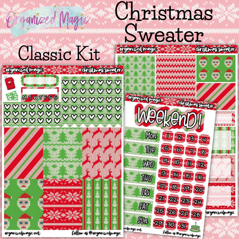 Christmas Sweater Classic weekly planner sticker kit