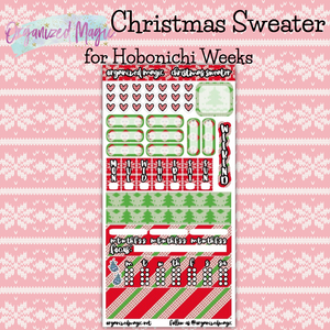 Christmas Sweater Hobonichi Weeks planner sticker kit