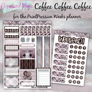 Coffee Coffee Coffee PrintPression Weeks planner sticker kit