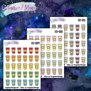 coffee doodle planner stickers