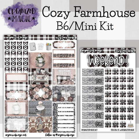 Cozy Farmhouse B6 Mini weekly planner sticker kit
