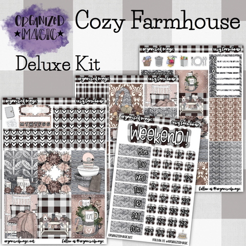 Cozy Farmhouse Deluxe weekly planner sticker kit