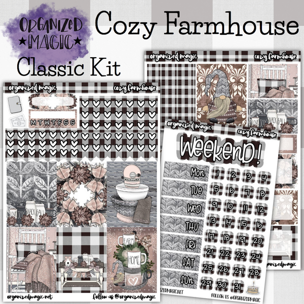 Cozy Farmhouse Classic weekly planner sticker kit