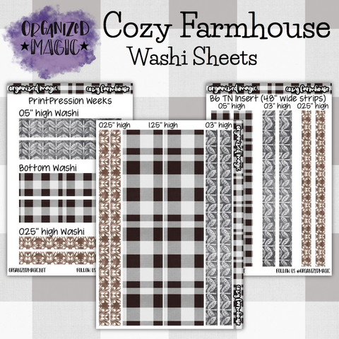 Cozy Farmhouse washi planner stickers