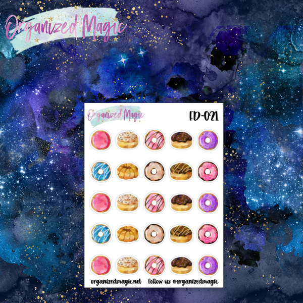 watercolor donut planner stickers