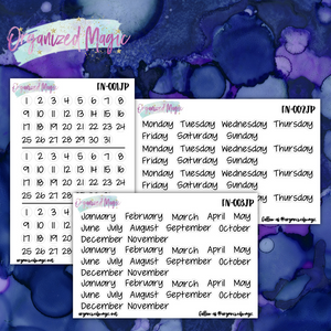 Dates, Days, and Months JenPlans script planner stickers