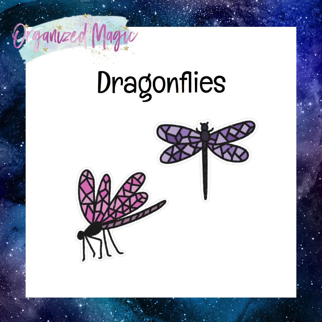 doodle dragonfly die cut stickers
