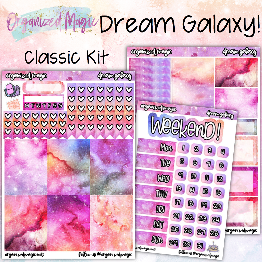 Dream Galaxy Classic weekly planner sticker kit