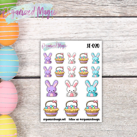 Bunnies and Baskets Easter planner stickers