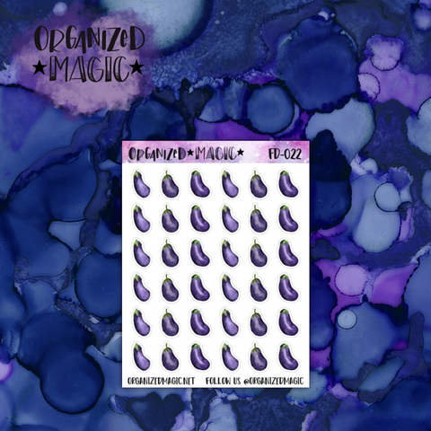 watercolor eggplant planner stickers