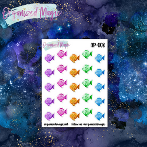 colorful fish planner stickers