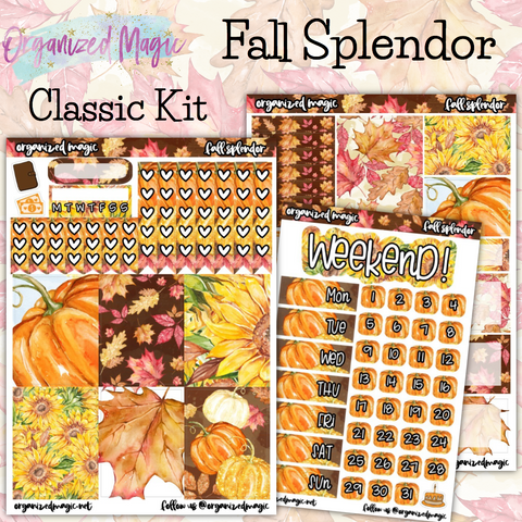 Fall Splendor Classic weekly planner sticker kit