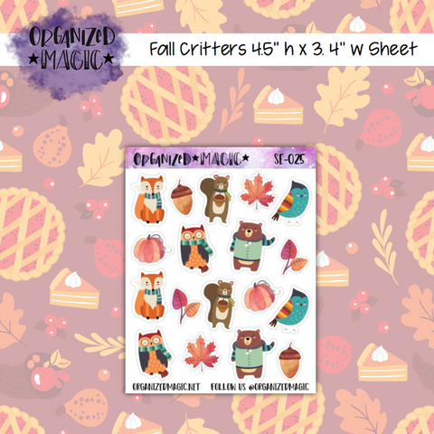 Fall Critters planner stickers
