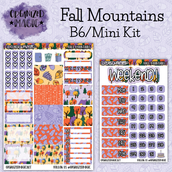 Fall Mountains B6 Mini weekly planner sticker kit