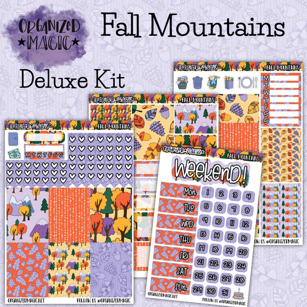 Fall Mountains Deluxe weekly planner sticker kit