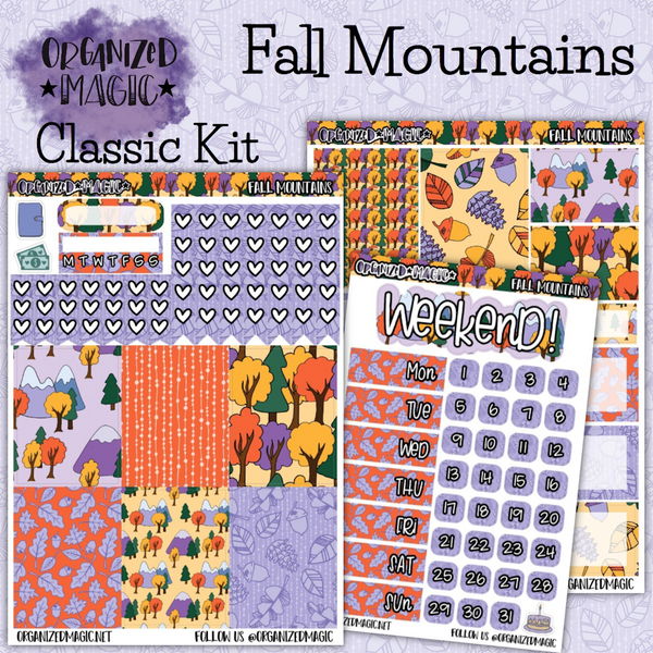 Fall Mountains Classic weekly planner sticker kit