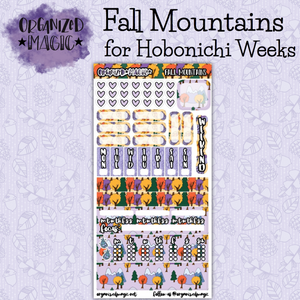 Fall Mountains Hobonichi Weeks planner sticker kit