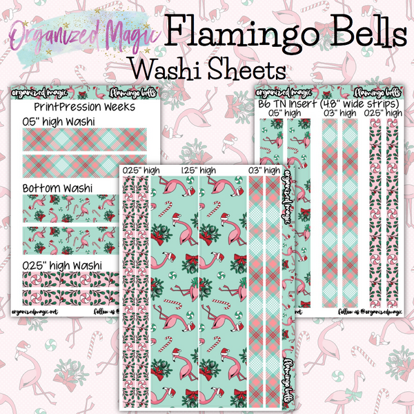 Flamingo Bells washi sheets planner stickers