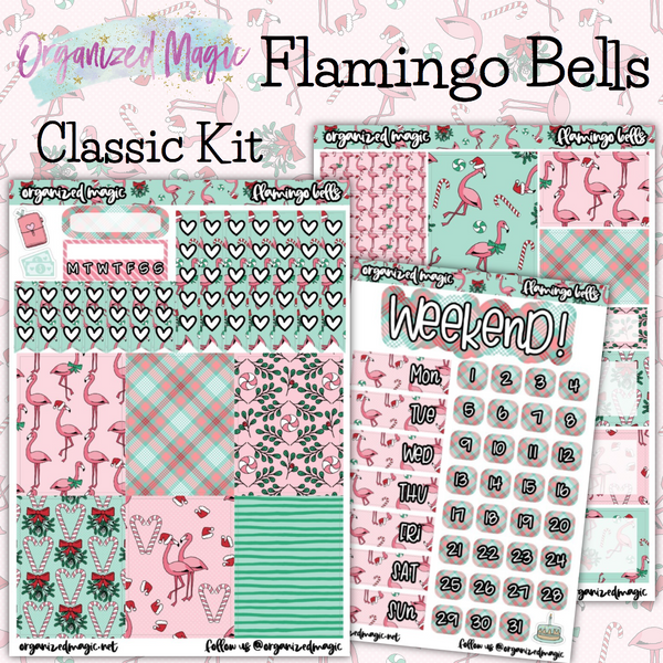 Flamingo Bells classic weekly planner sticker kit