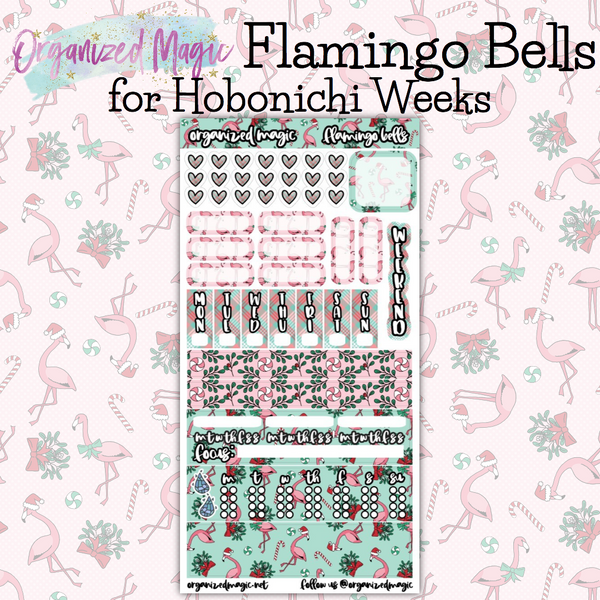 Flamingo Bells hobonichi weeks planner sticker kit