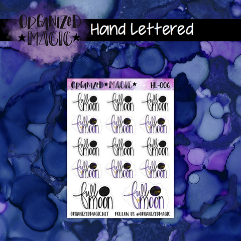 full moon hand lettered script planner stickers