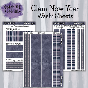 Glam New Year washi sheet planner stickers