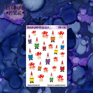 Gnome and Mushroom planner stickers