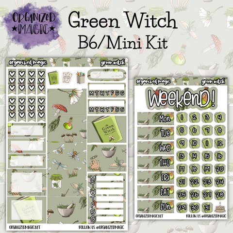 Green Witch B6 Mini Kit planner stickers