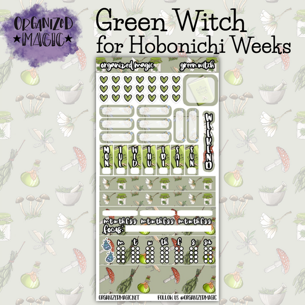 Green Witch Hobonichi Weeks planner sticker kit