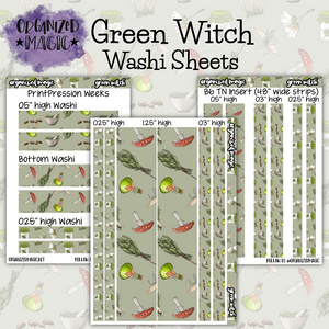 Green Witch wash strip sheets planner stickers
