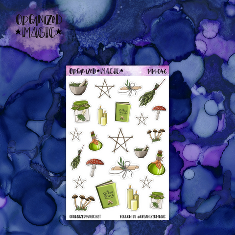 Green Witch Deco planner stickers