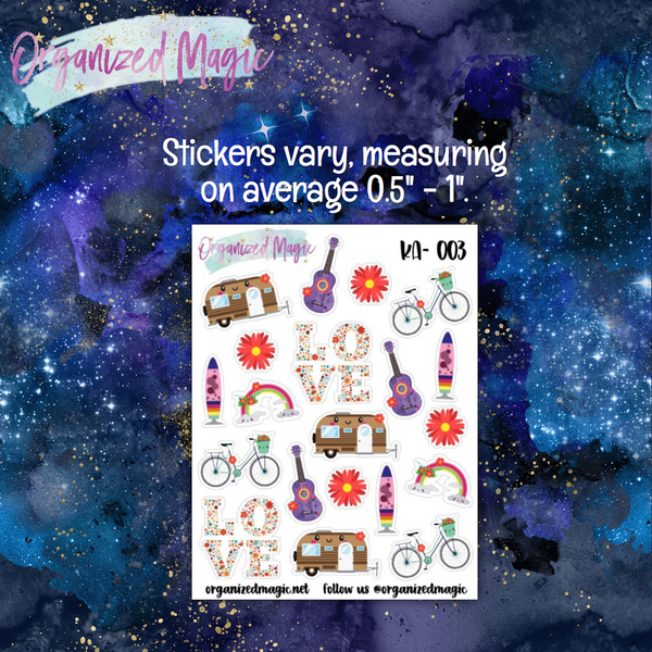 Kawaii Hippie Mix Planner Stickers
