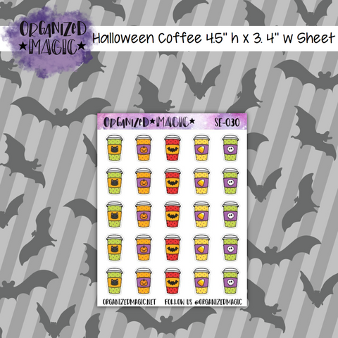 Halloween Coffee planner stickers