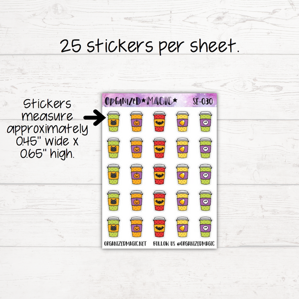 Halloween Coffee Cup Planner Stickers