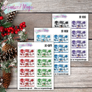 gift wrapping flatlay planner stickers