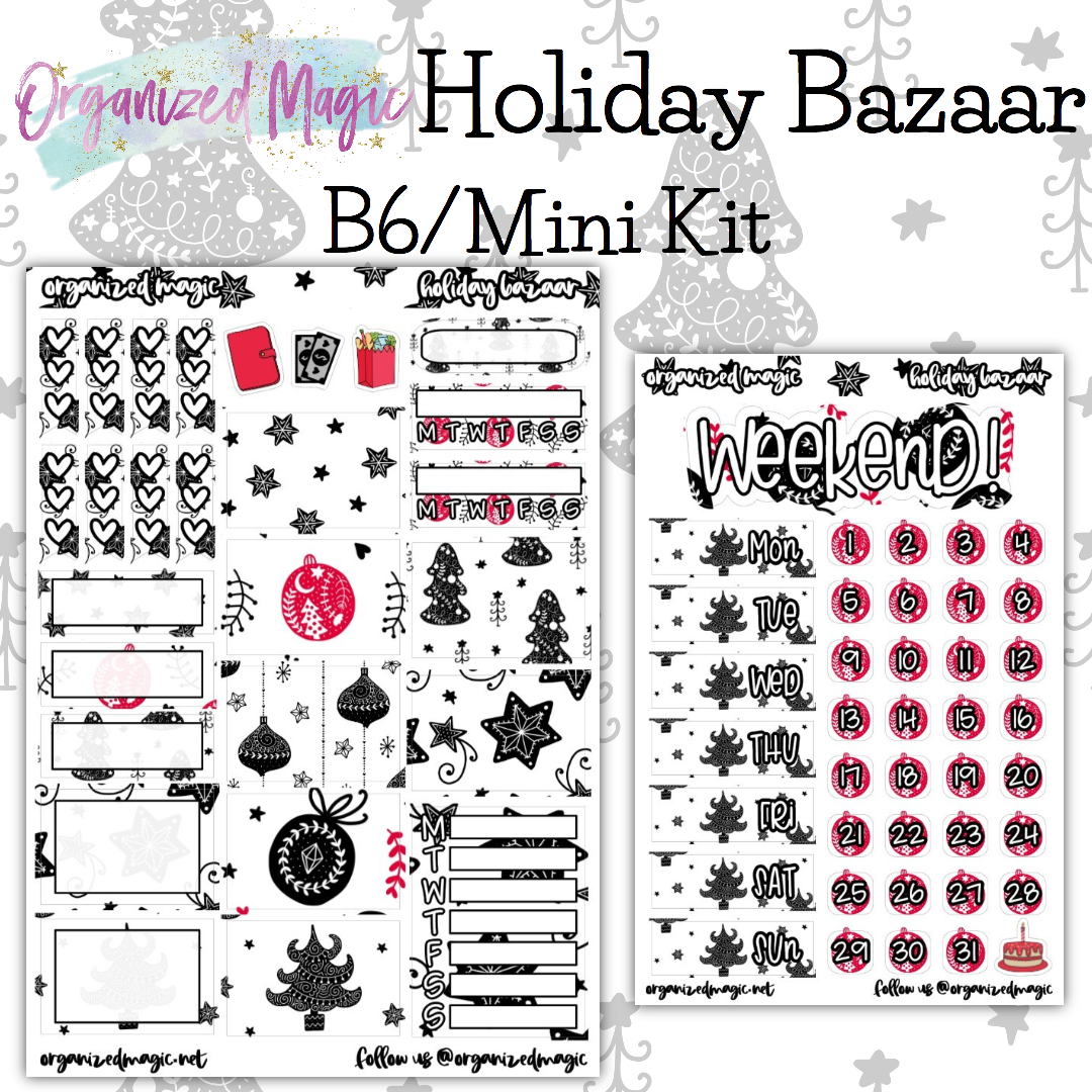Holiday Bazaar B6 Mini Kit planner sticker kit