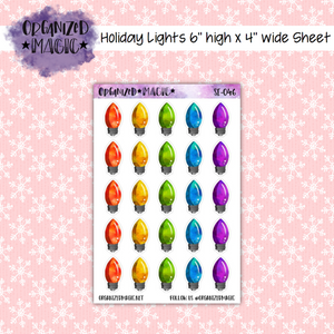 Large Holiday Lights planner stickers